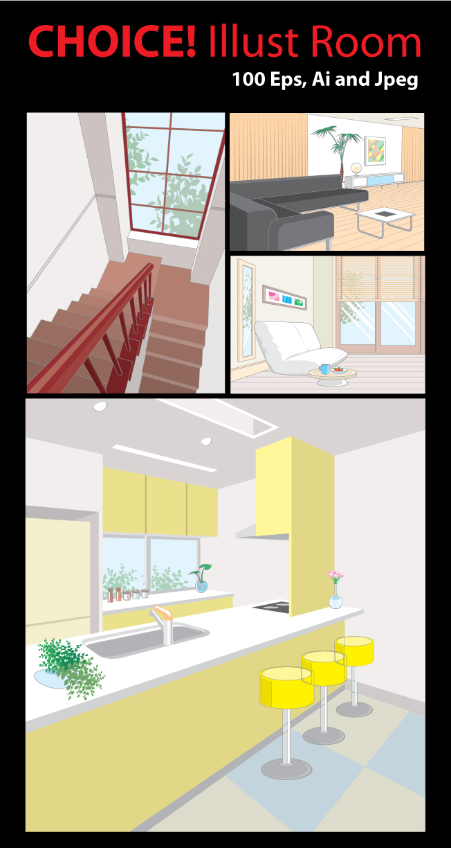 Illustration Room- 100 vector ai, eps files